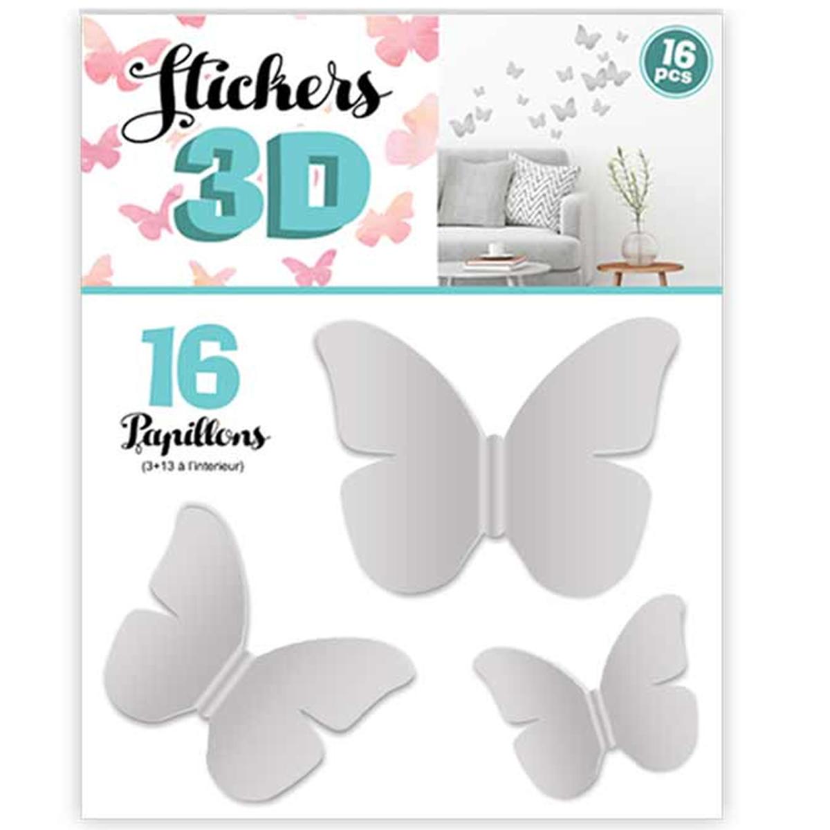 16 stickers 3D \'Papillons\' gris - planche 30x22 cm - [Q8029]