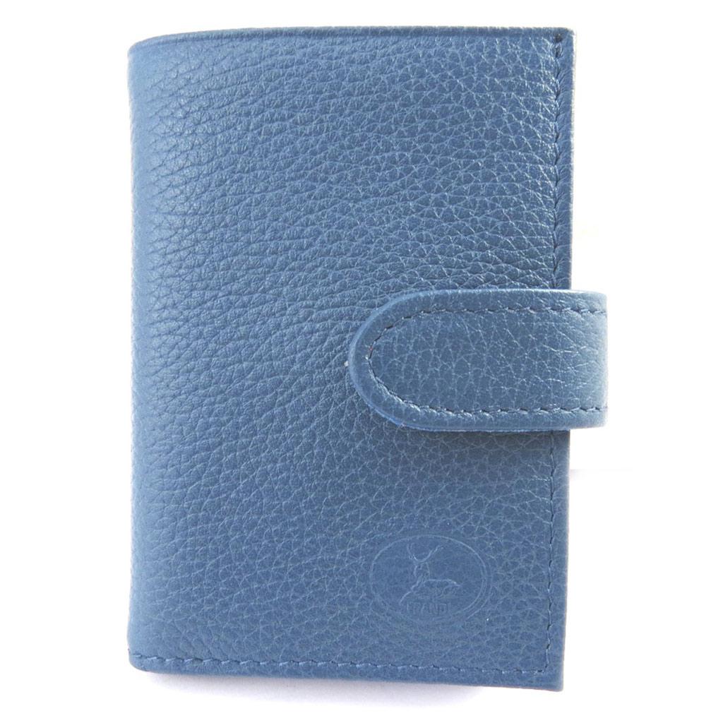 Porte-cartes Cuir \'Frandi\' bleu foncé grainé - [M6564]