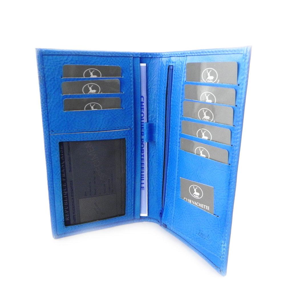 Porte-chéquier Cuir \'Frandi\' bleu roi - york écologique (cartes +) - [I8716]