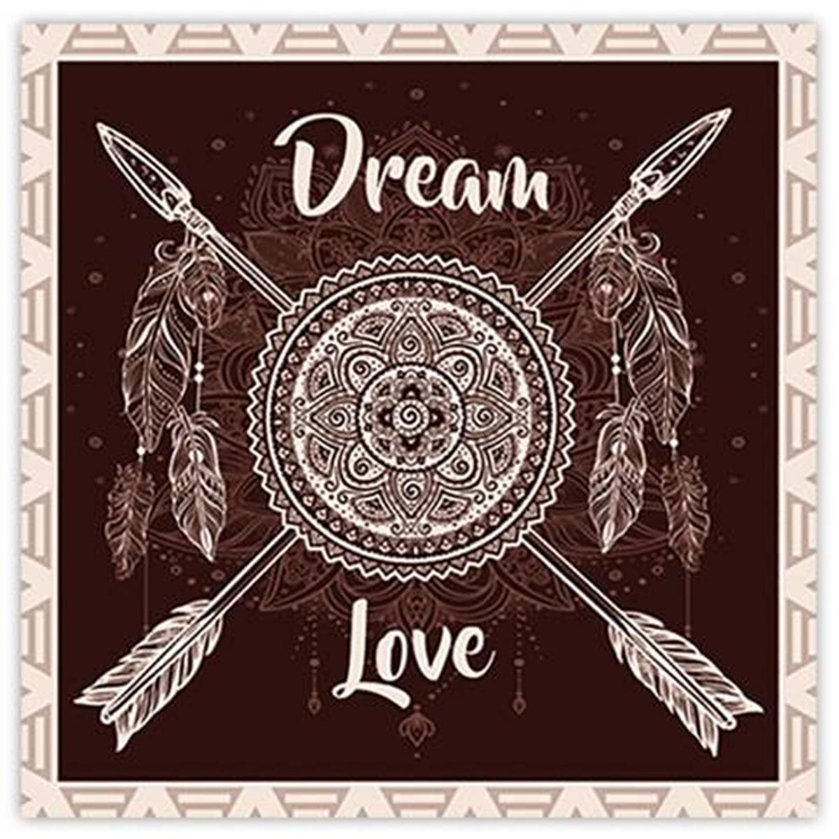 Toile \'Boho\' noir (Dream & Love) - 40x40 cm - [P0293]