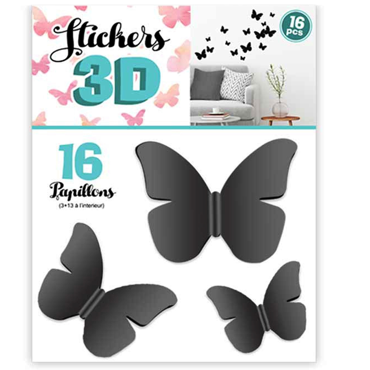 16 stickers 3D \'Papillons\' noir - planche 30x22 cm - [Q8030]