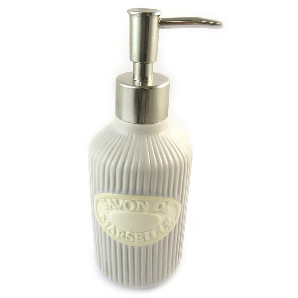 Distributeur de savon céramique \'Savon de Marseille\' taupe (rétro) - [N5680]