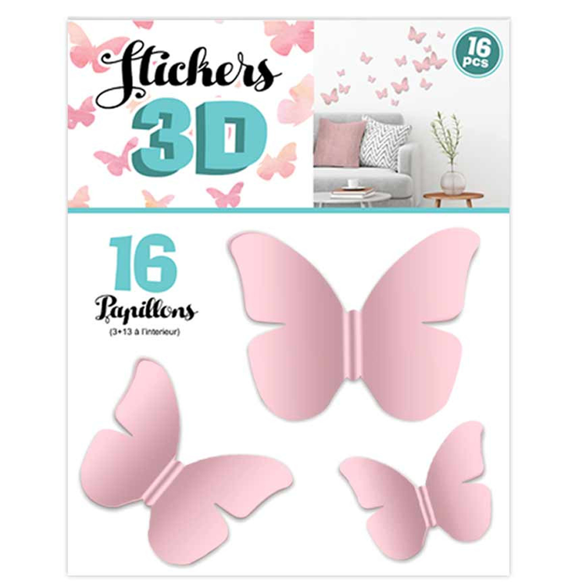 16 stickers 3D \'Papillons\' rose - planche 30x22 cm - [Q8031]