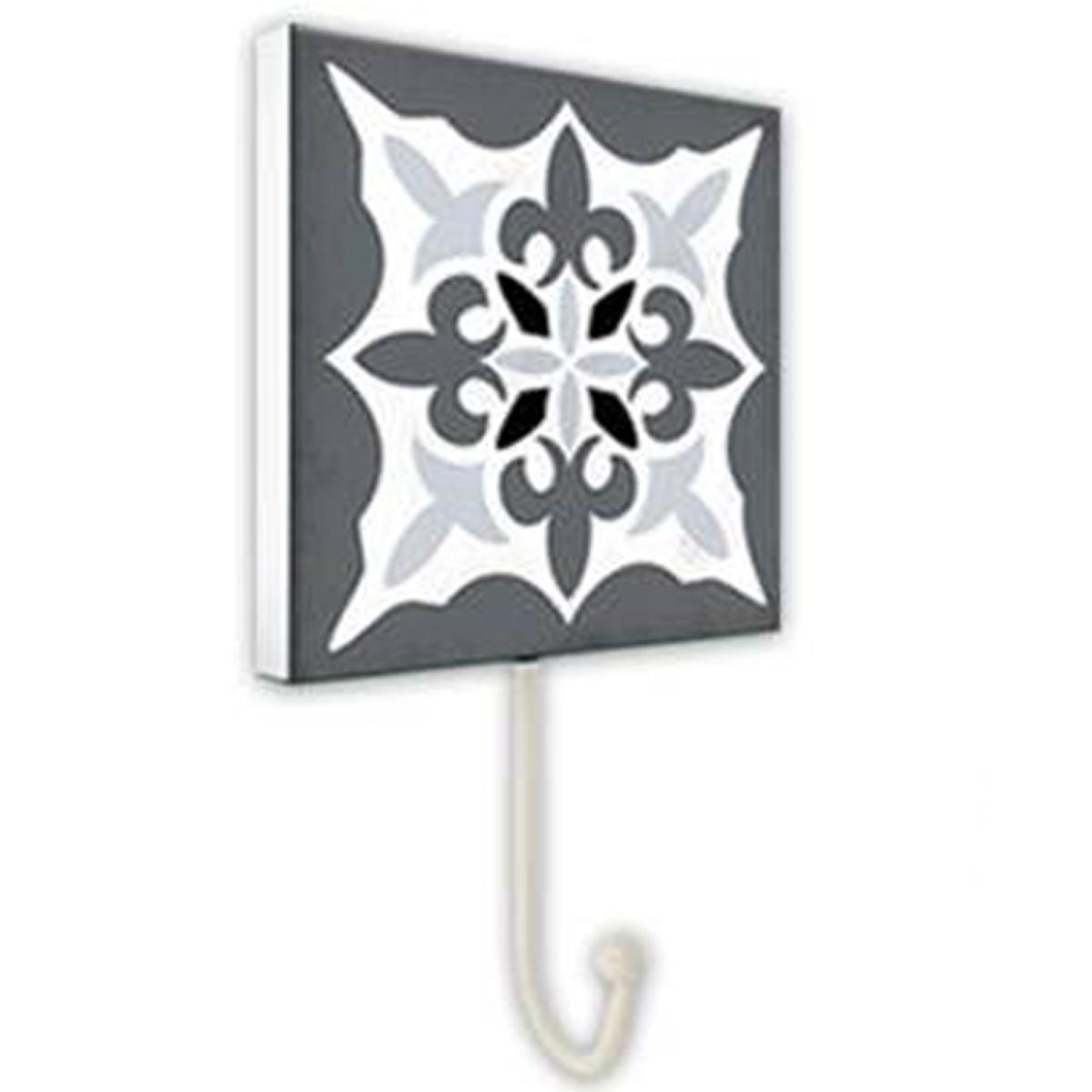 Patère \'Carreaux\' noir gris blanc - 10x10 cm - [P8821]