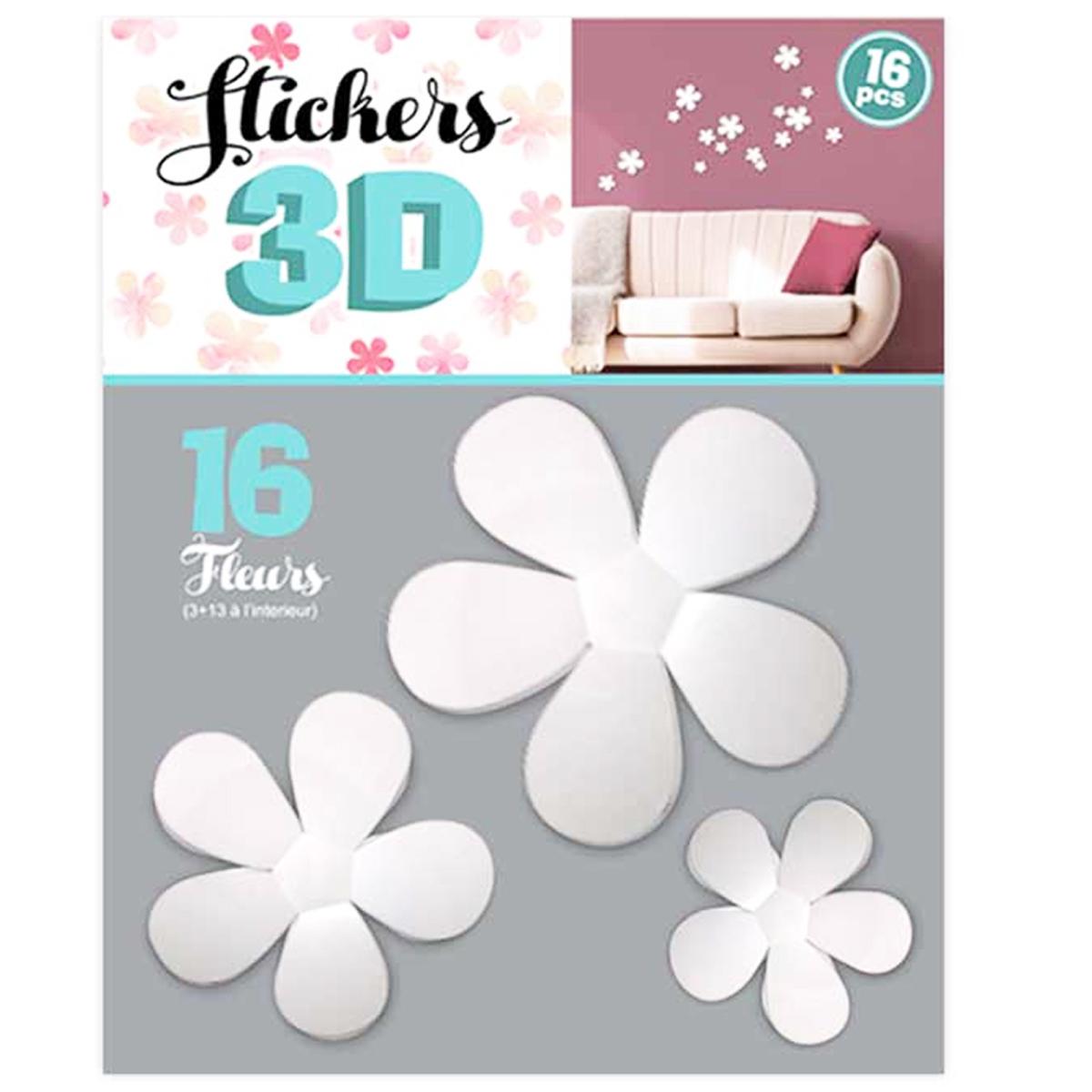 16 stickers 3D \'Fleurs\' blanc - planche 30x22 cm - [Q8032]