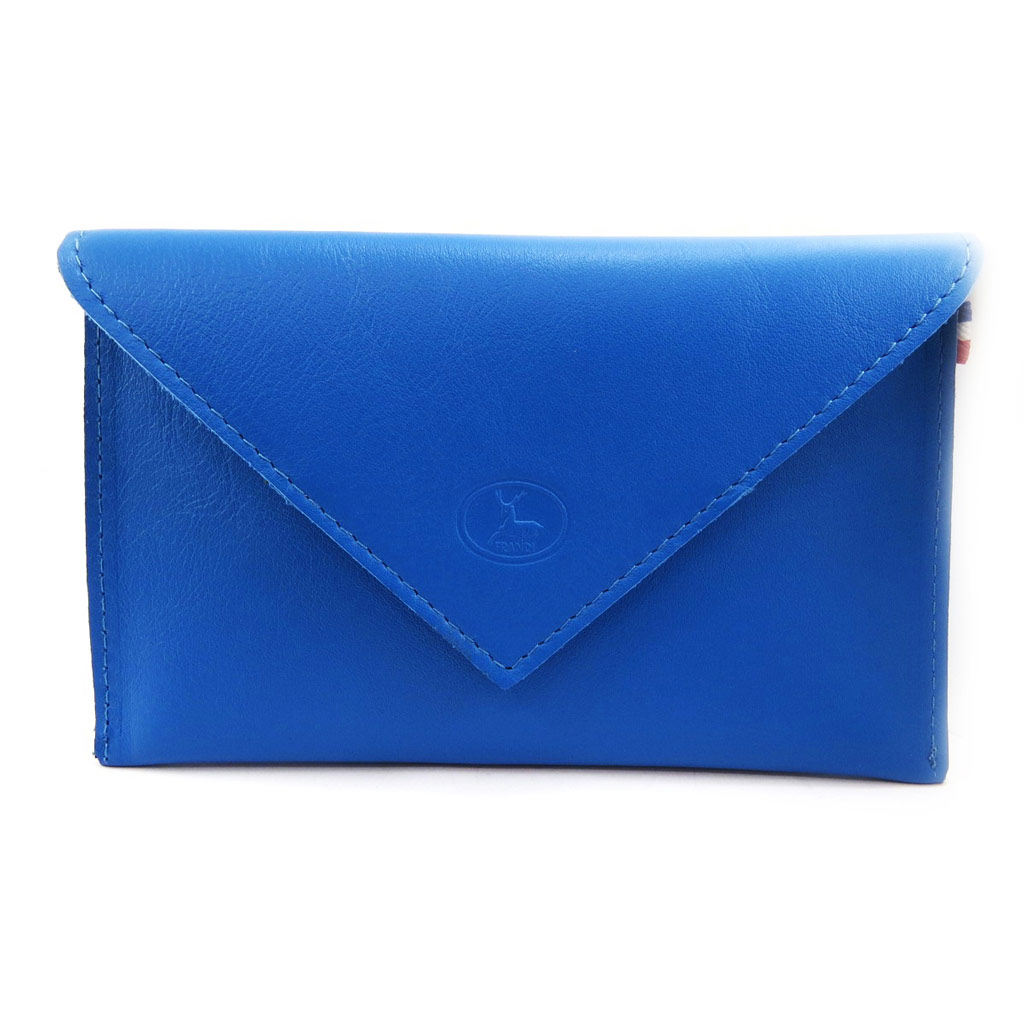 Porte Papiers de voiture Cuir \'Frandi\' bleu (ultra plat) - [L3457]