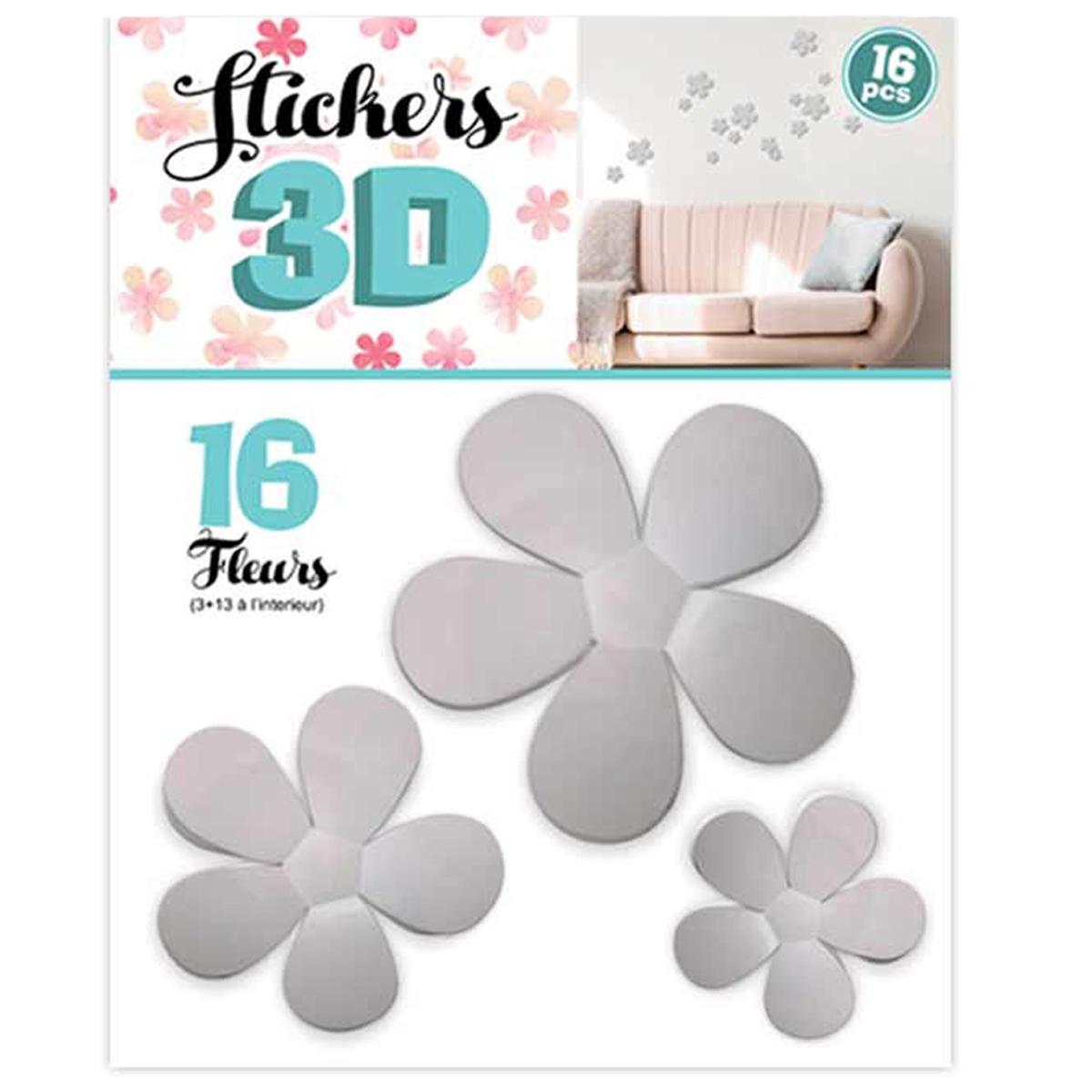 16 stickers 3D \'Fleurs\' gris - planche 30x22 cm - [Q8033]