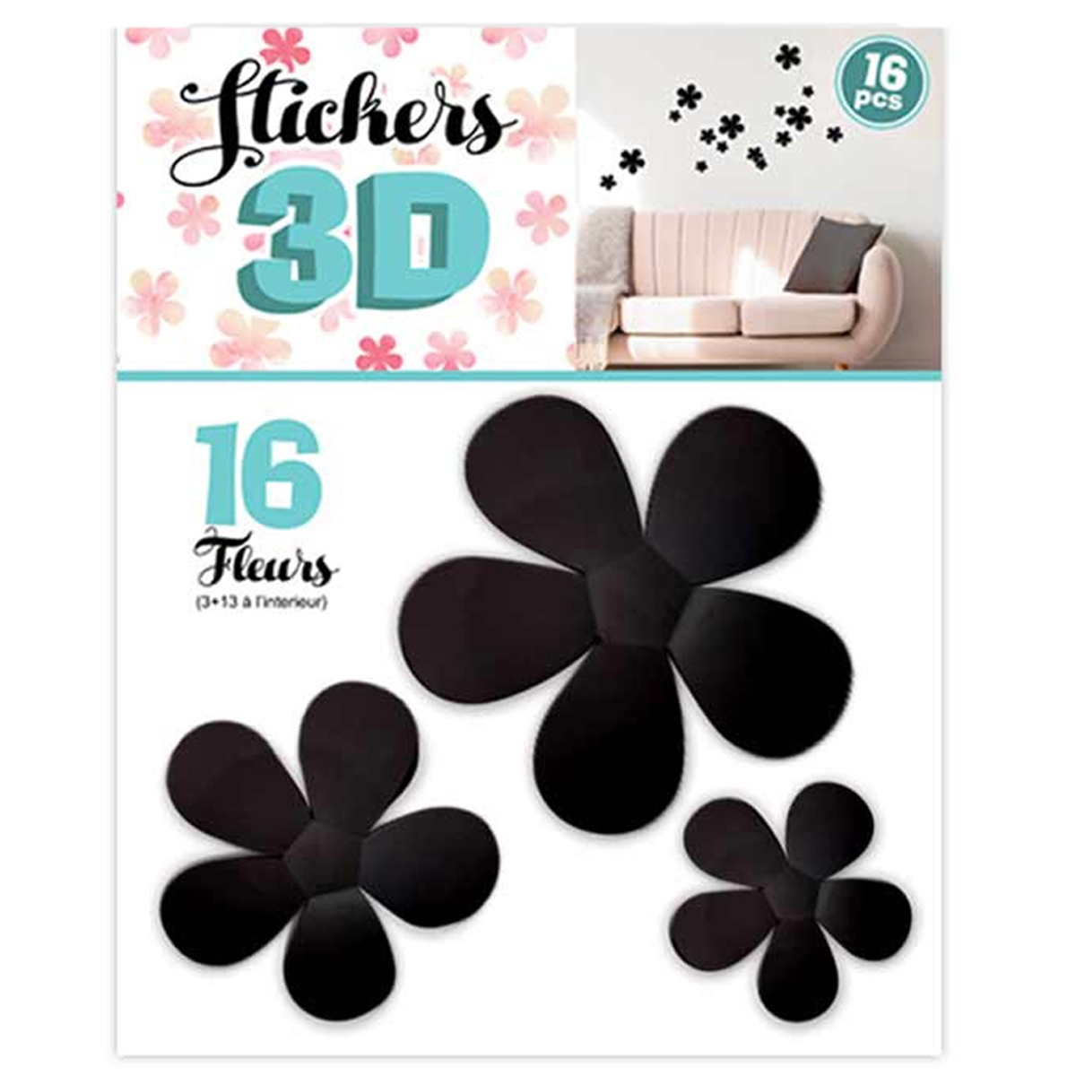 16 stickers 3D \'Fleurs\' noir - planche 30x22 cm - [Q8034]