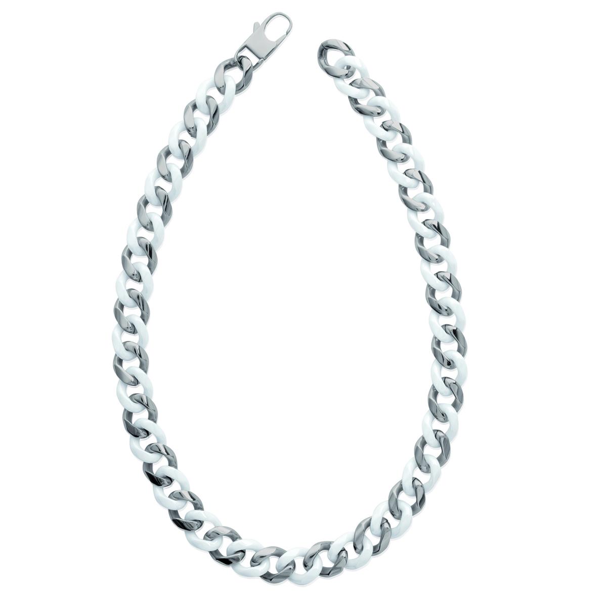 Collier \'Chorégraphie\' acier céramique - 45 cm 12 mm - [K1806]