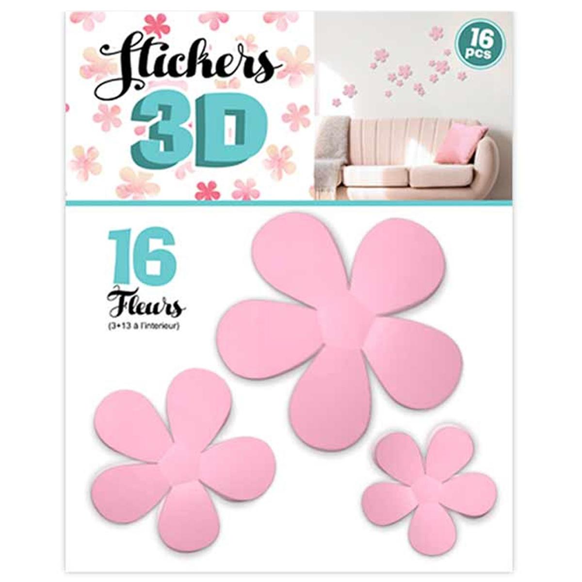 16 stickers 3D \'Fleurs\' rose - planche 30x22 cm - [Q8035]
