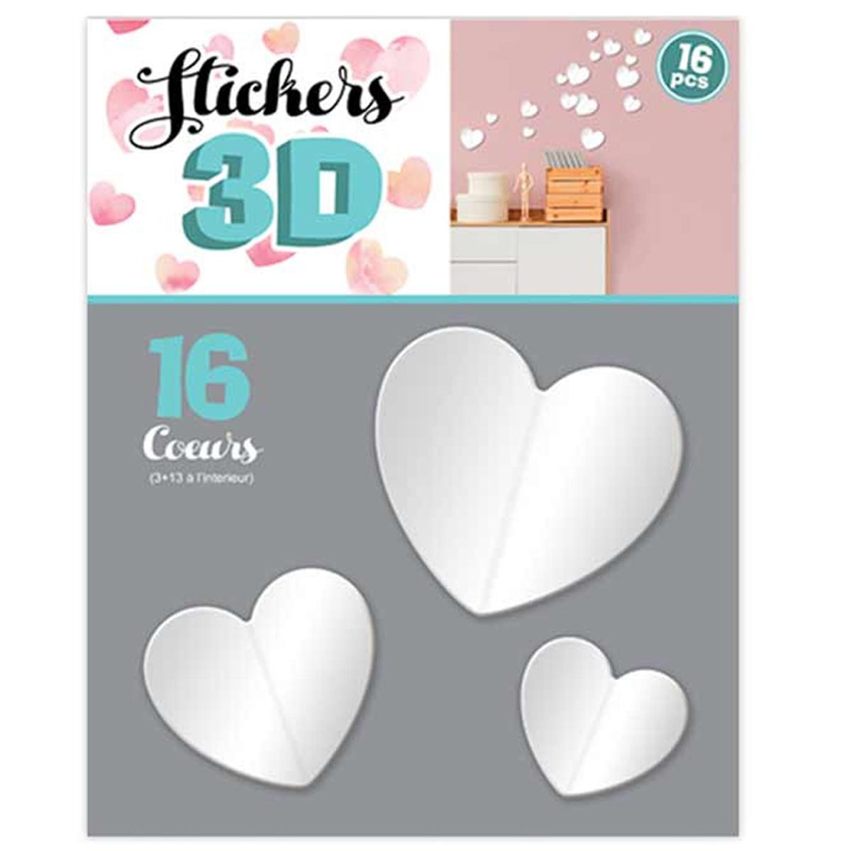 16 stickers 3D \'Love\' blanc (coeurs) - planche 30x22 cm - [Q8036]