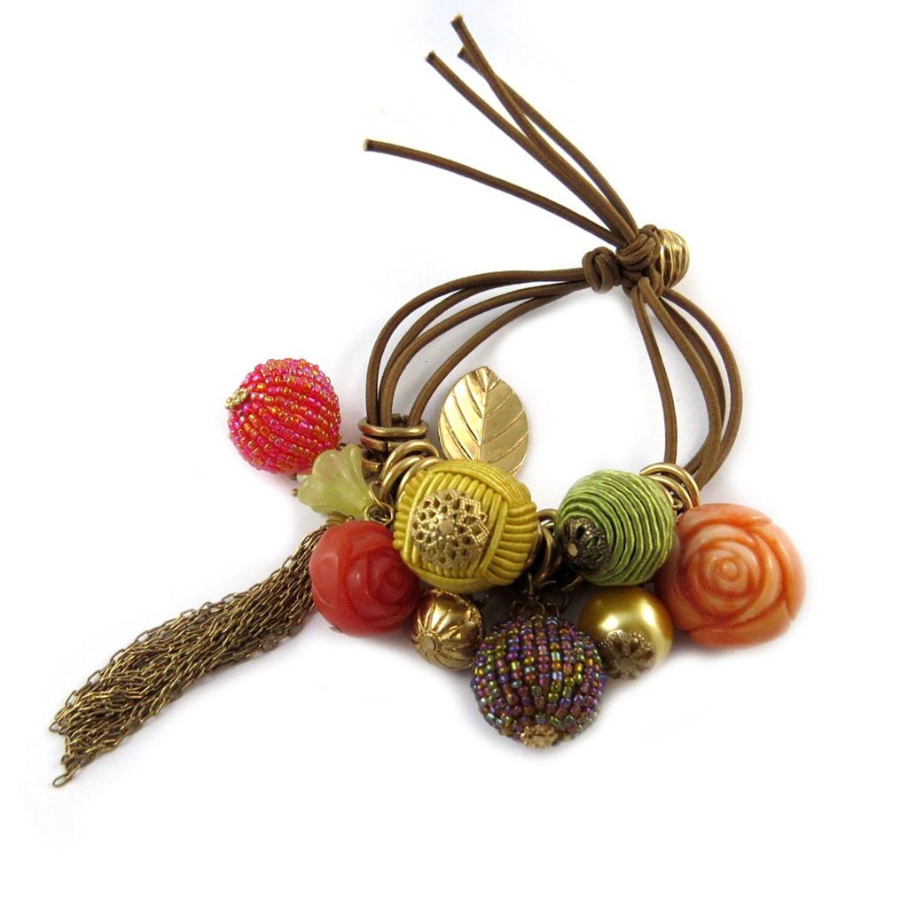 Bracelet \'Grappe de Fruits\' Rouge / Ambre  - [N8437]