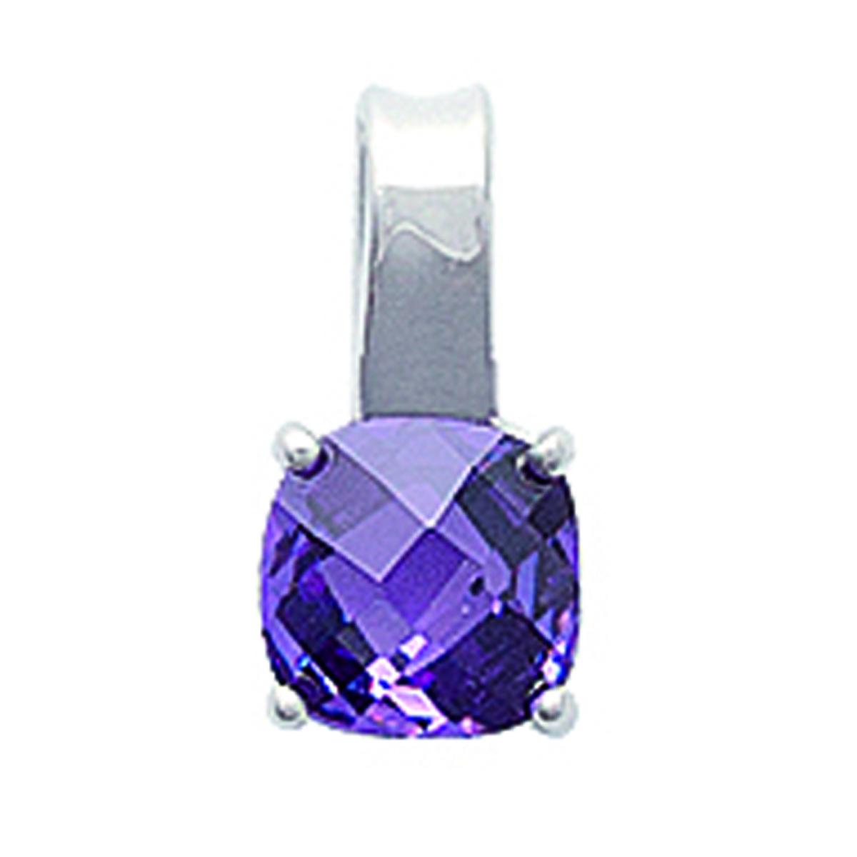 Pendentif Argent \'Linda\' améthyste argenté (rhodié) - 6x6 mm - [J7207]