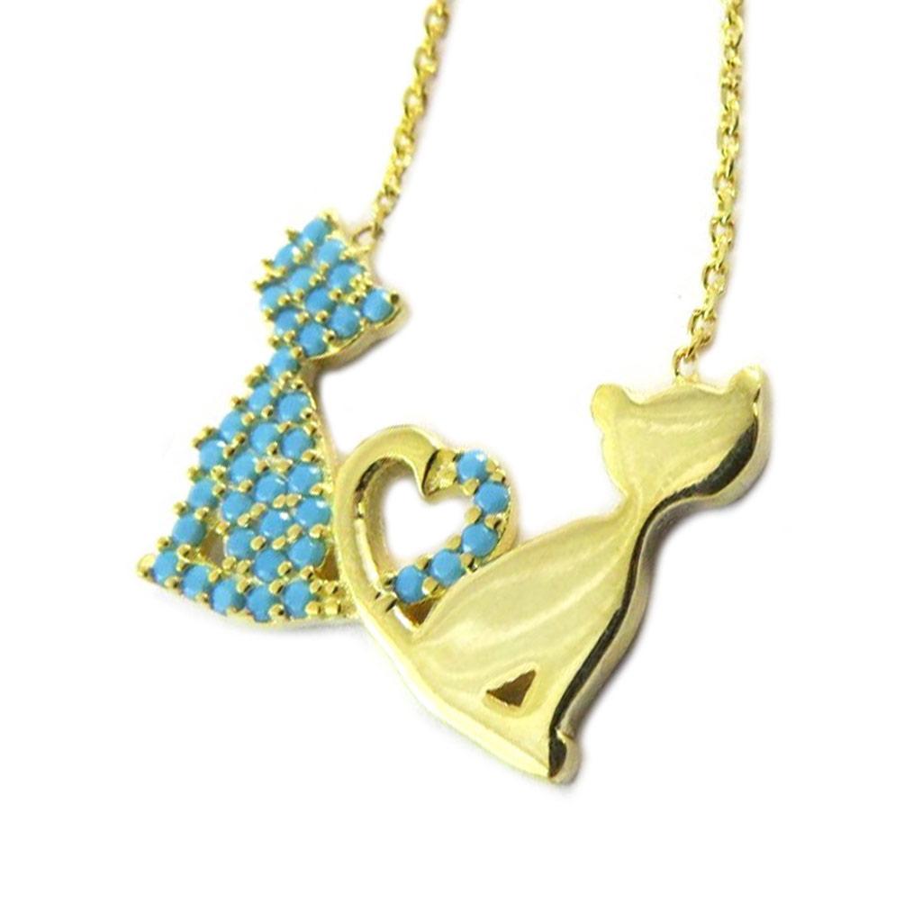 Collier Argent \'Chats\' turquoise doré (love) - [P1924]