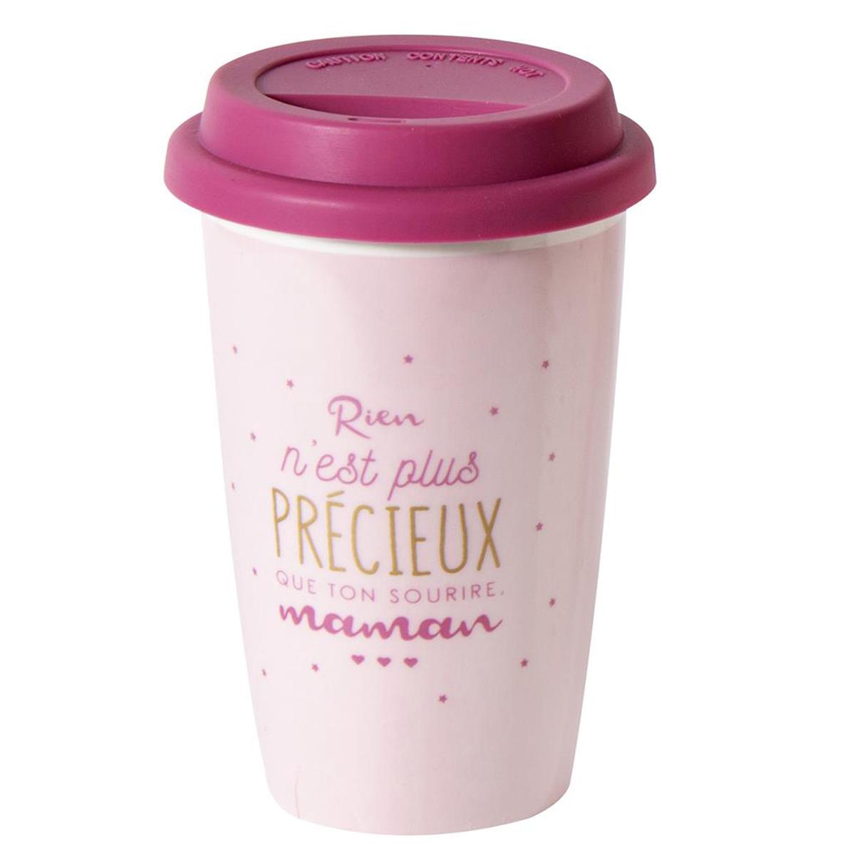 Mug de transport céramique \'Maman\' rose fuschia (Rien n\'est plus précieux que ton sourire Maman) - 14x9 cm - [Q9313]