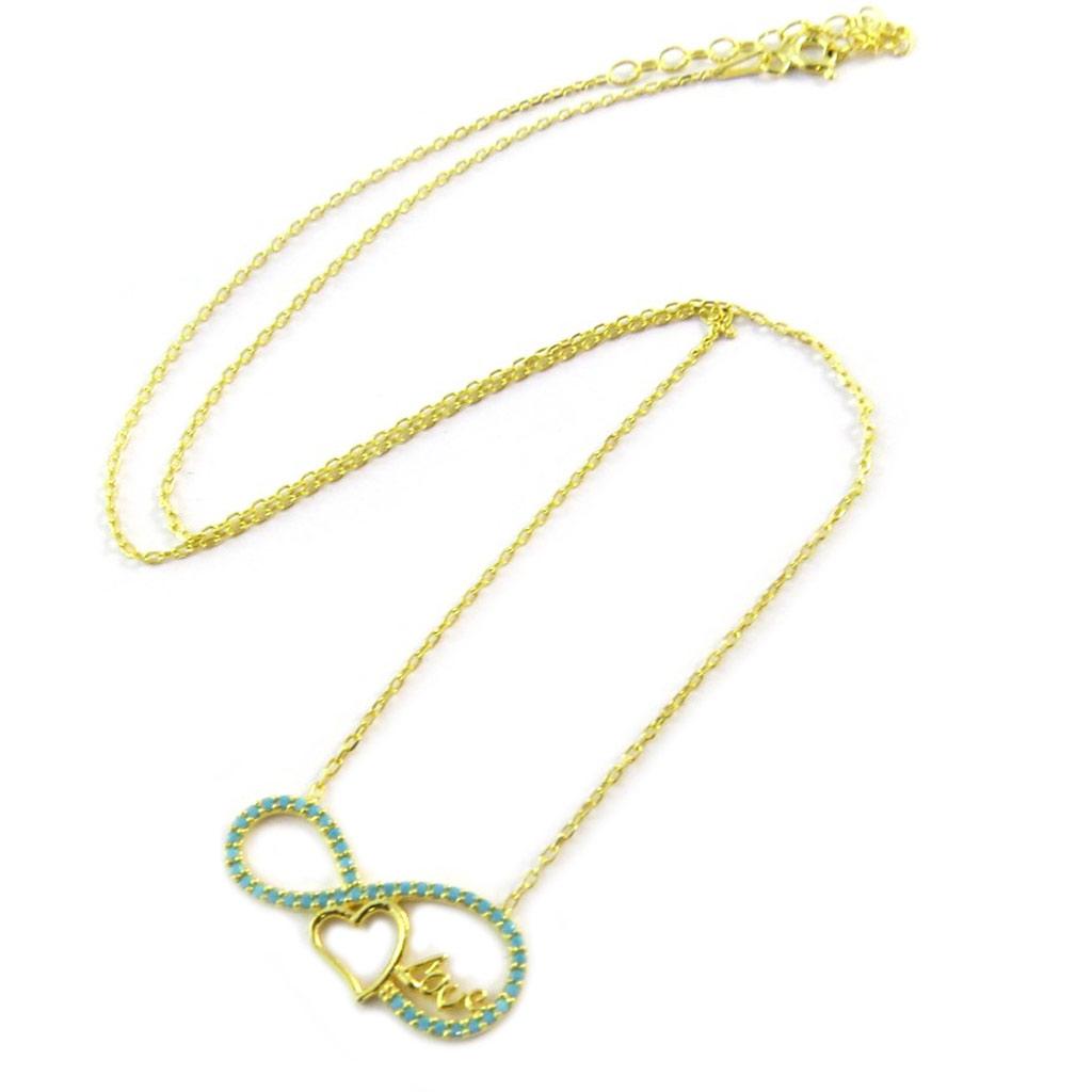 Collier Argent \'Infini\' turquoise doré (love) - [P1928]