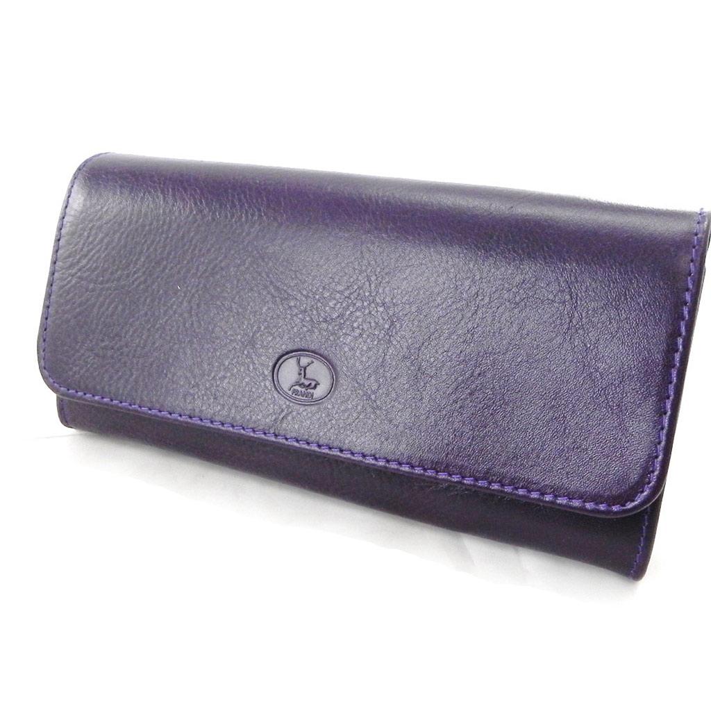 Grand porte-monnaie Cuir \'Frandi\' violet york écologique - [I8743]