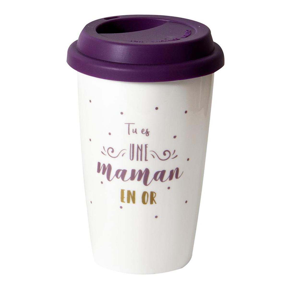 Mug de transport céramique \'Maman\' violet (Tu es une maman en or) - 14x9 cm - [Q9314]