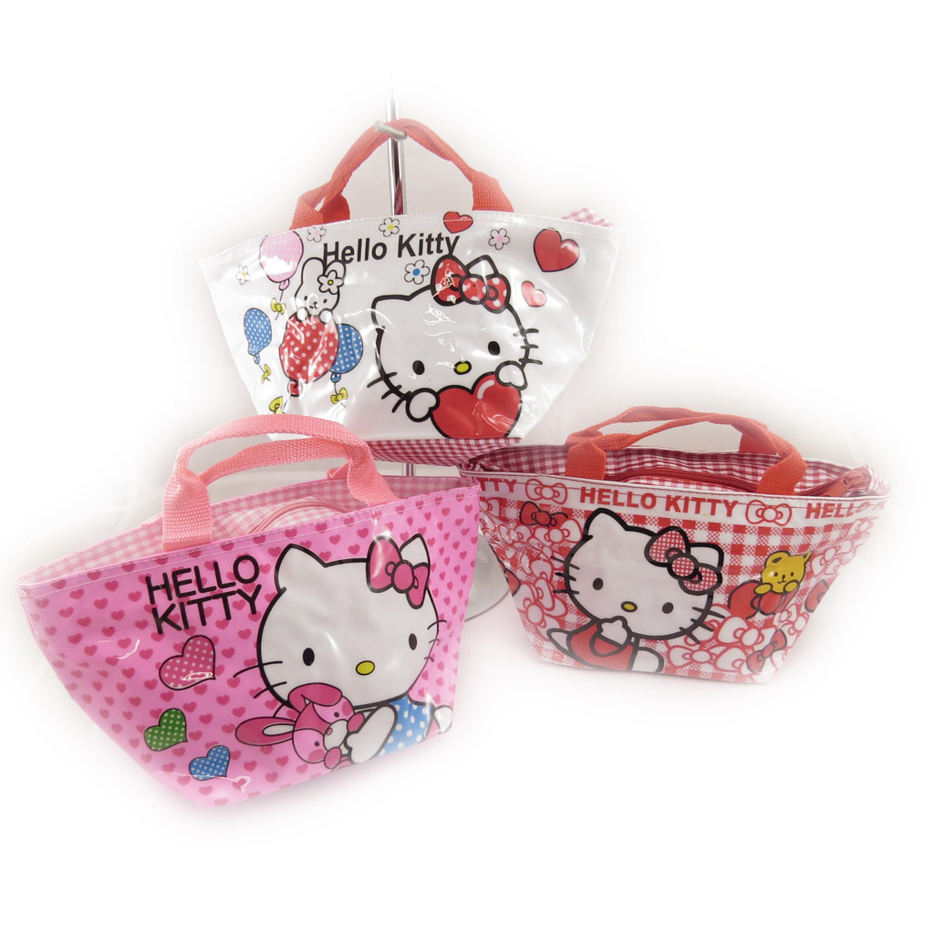 3 sacs shopping \'Hello Kitty\' rose blanc rouge - [K8306]