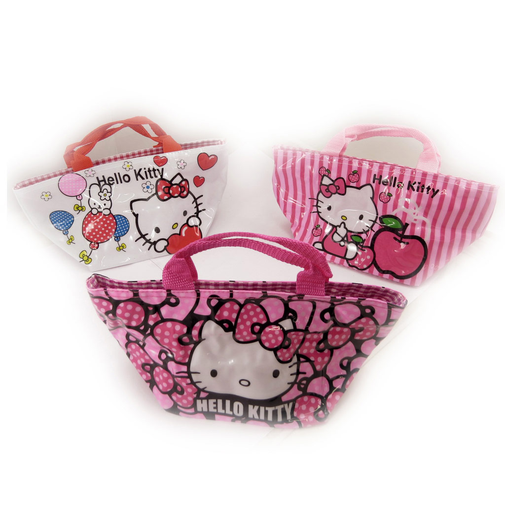 3 sacs shopping \'Hello Kitty\' rose blanc - [K8308]
