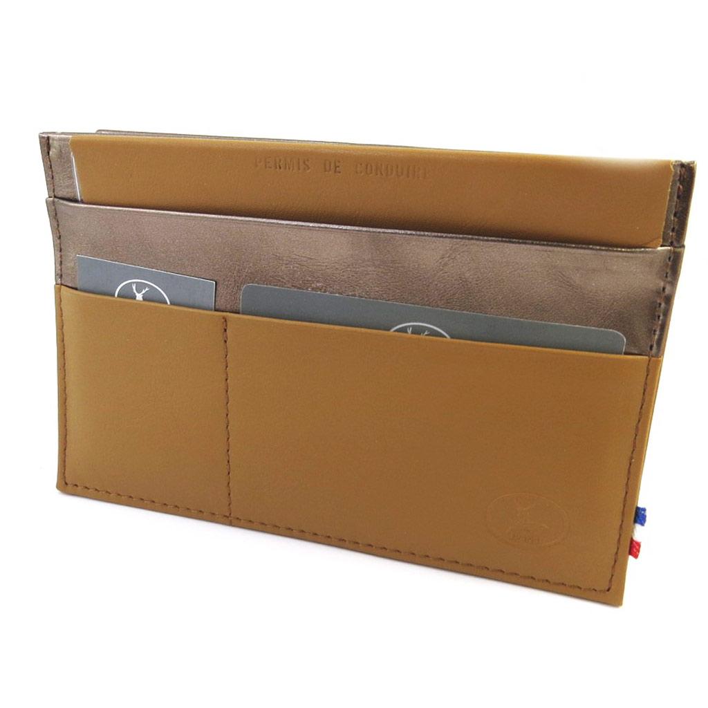 Porte Papiers de voiture Cuir \'Frandi\' camel bicolore (ultra plat) - [M6622]