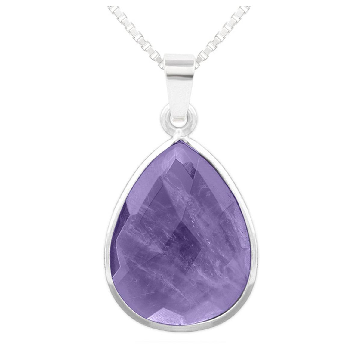 Collier argent artisanal \'Mineralia\' améthyste argenté - 18x14 mm - [R1020]