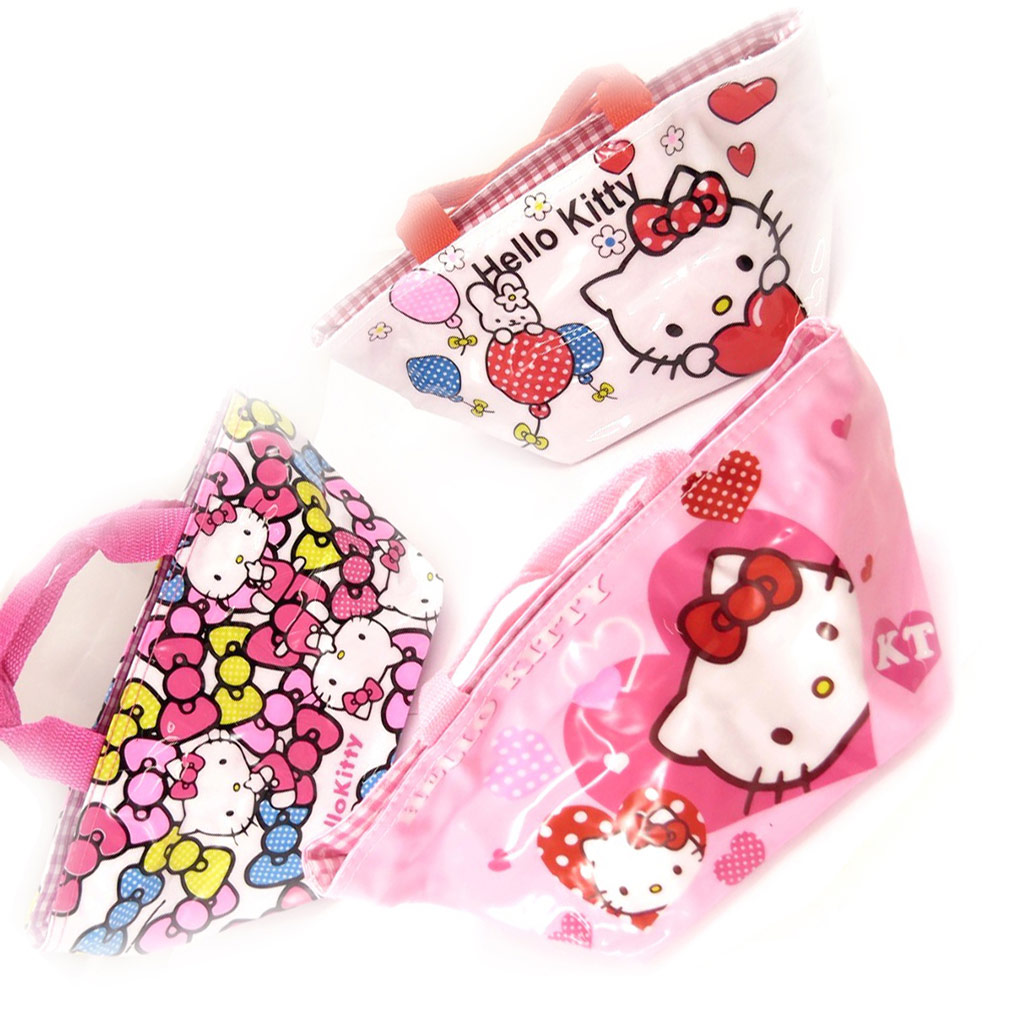 3 sacs shopping \'Hello Kitty\' rose  - [K8312]