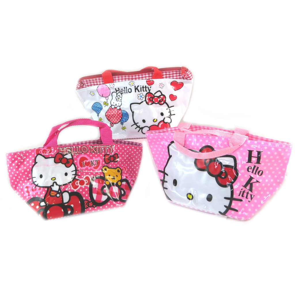 3 sacs shopping \'Hello Kitty\' blanc rose - [K8313]