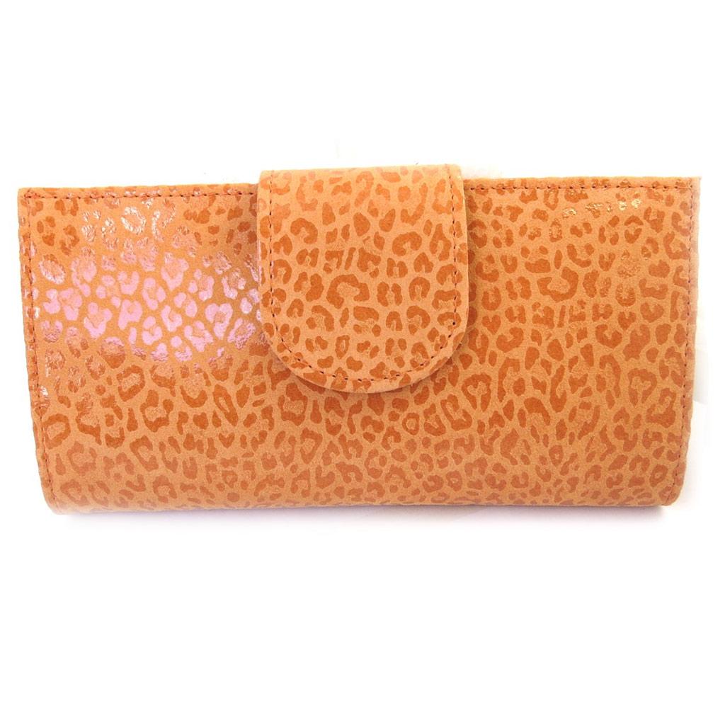 Porte-Chéquier Cuir \'Frandi\' orange (léopard) - [M3547]
