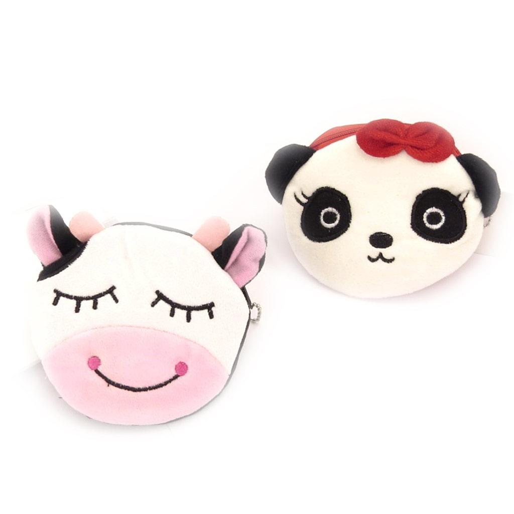 2 porte-monnaies peluches \'Un amour d\'Animaux\' vache panda - [K8439]