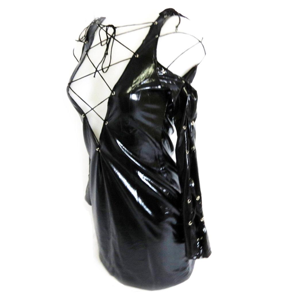 Tenue sexy \'Scarlett\' noir vernis - [K8445]