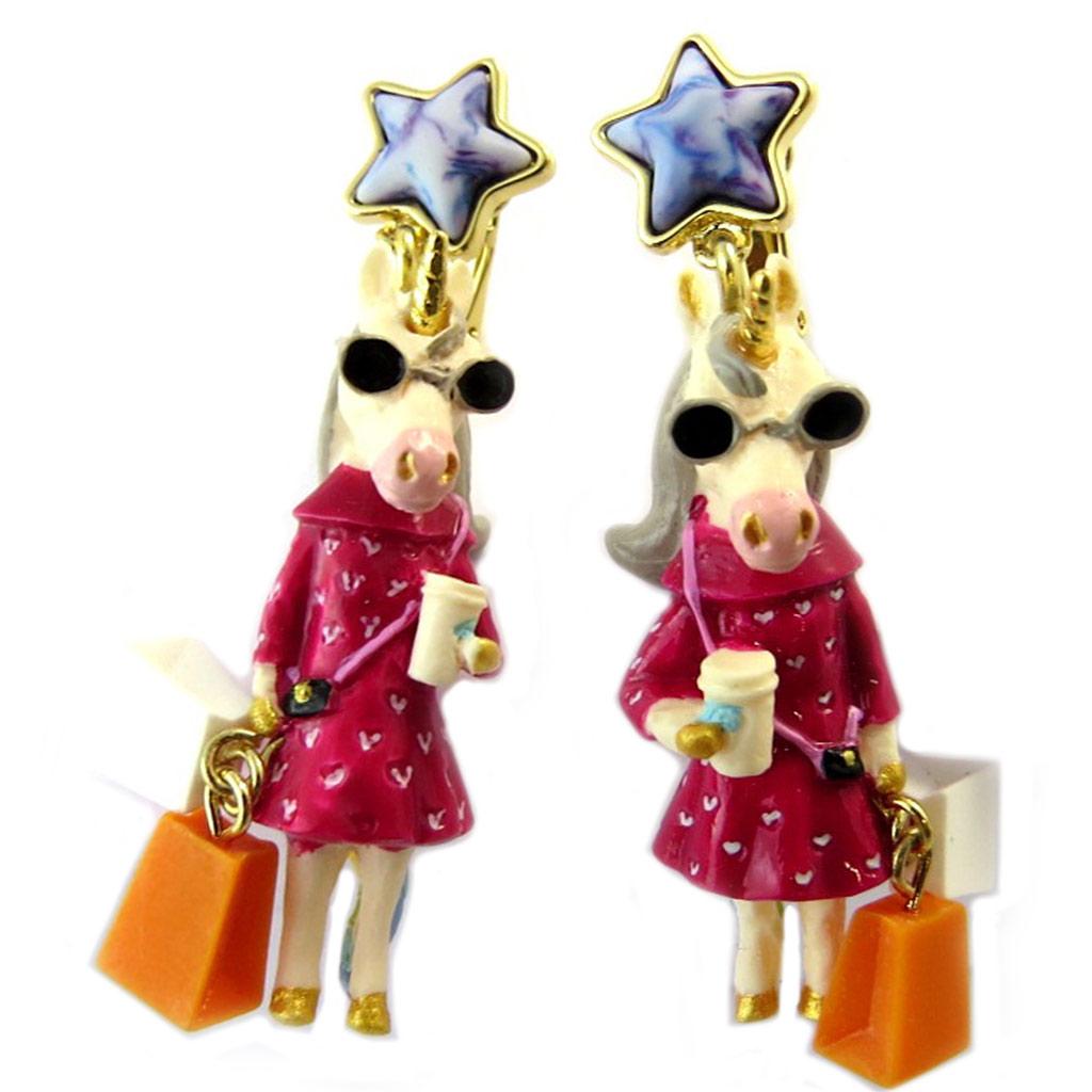 Boucles d\'oreilles clips artisanales \'Monde Merveilleux\' (Licorne) multicolore - 50x20 mm - [P1991]