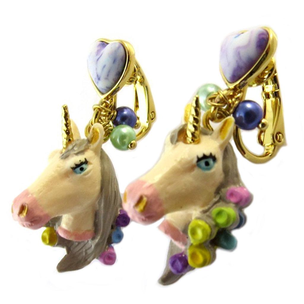 Boucles d\'oreilles clips artisanales \'Monde Merveilleux\' (Licorne) multicolore pastel - 35x20 mm - [P1992]