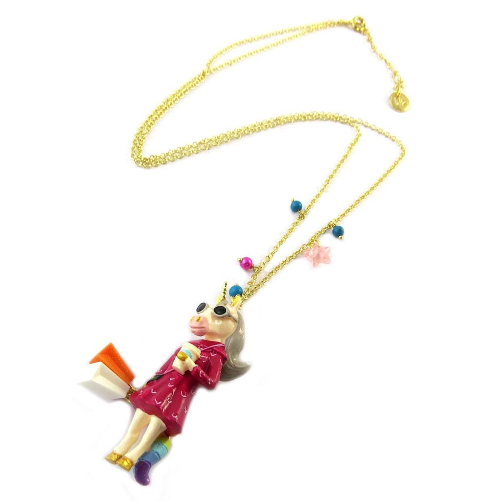 Collier / sautoir artisanal \'Monde Merveilleux\' (Licorne) rose multicolore doré - [P2000]