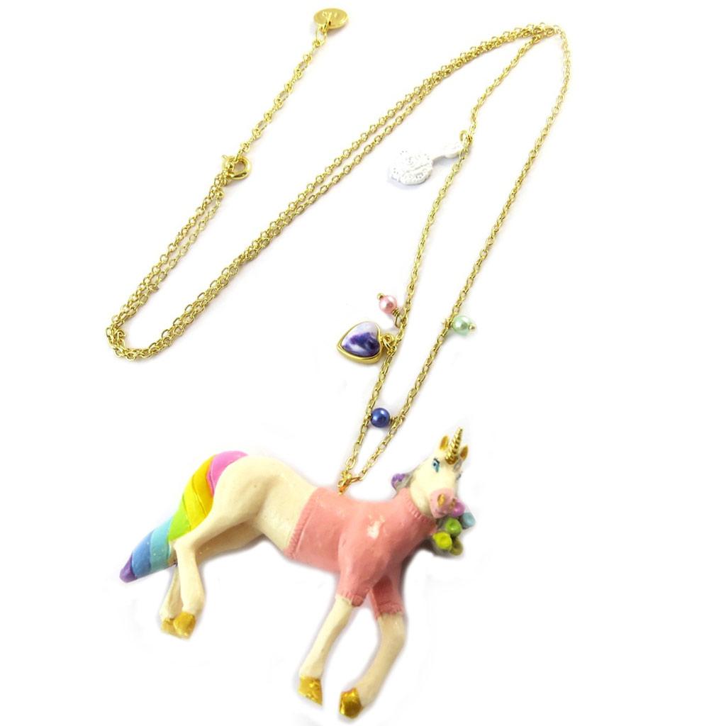 Collier / sautoir artisanal \'Monde Merveilleux\' (Licorne) multicolore doré - [P2001]