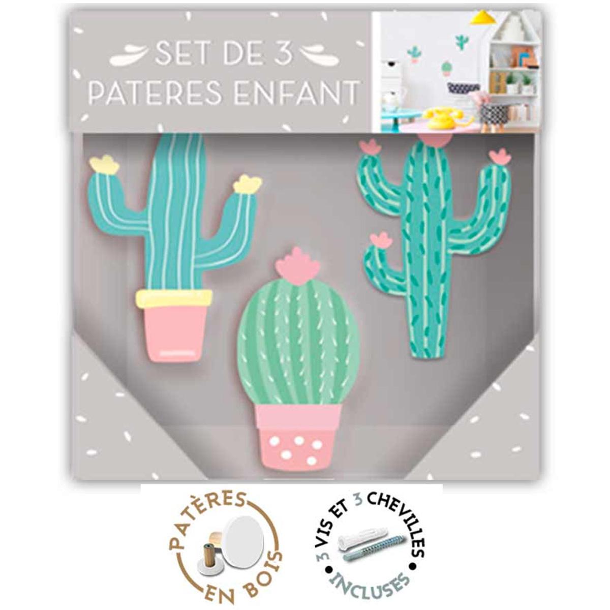 Trio de patères bois \'Cactus\' vert - 9x55 cm, 9x55 cm et 8x45 cm - [R1071]