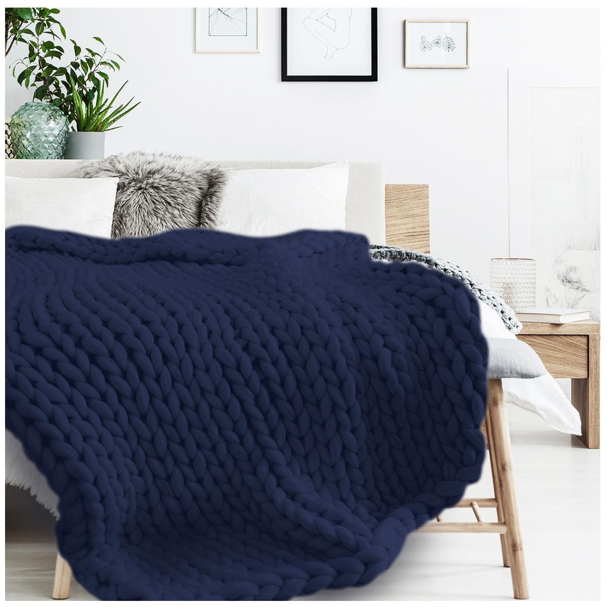 Plaid acrylique \'Chunky Knit\' marine (tricot) - 150x120 cm - [R1074]