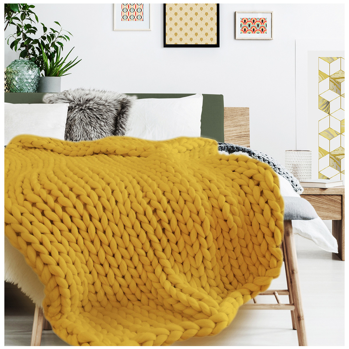 Plaid acrylique \'Chunky Knit\' ocre moutarde (tricot) - 150x120 cm - [R1075]