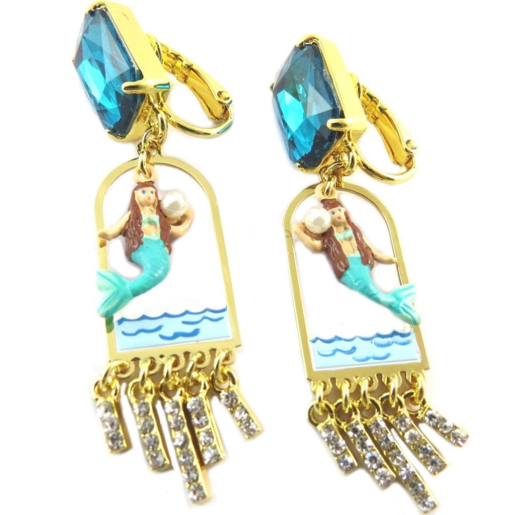 Boucles d\'oreilles clips artisanales \'Monde Merveilleux\' (Sirène) turquoise doré - 58x13 mm - [P2010]