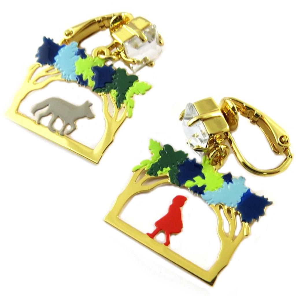 Boucles d\'oreilles clips artisanales \'Monde Merveilleux\' (Chaperon rouge) multicolore doré - 30x20 mm - [P2015]