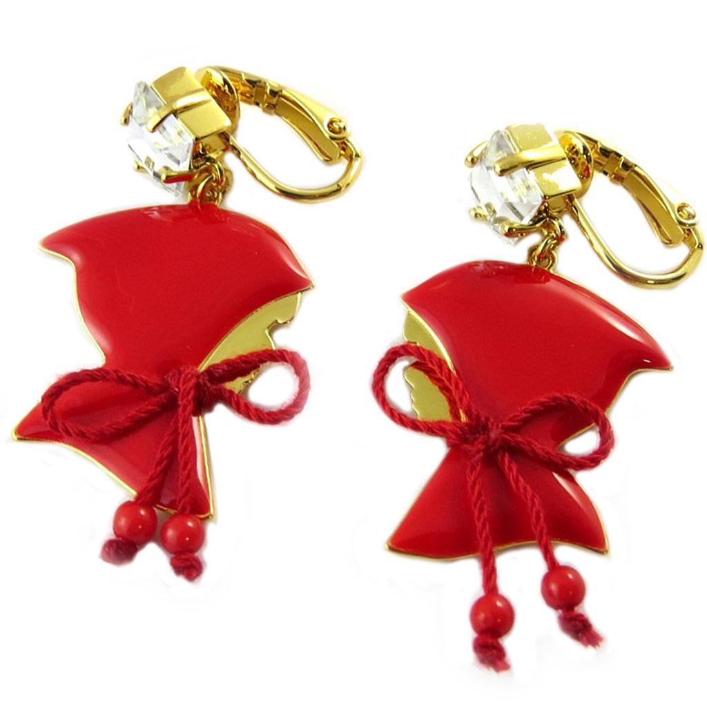 Boucles d\'oreilles clips artisanales \'Monde Merveilleux\' (Chaperon rouge) rouge doré - 47x20 mm - [P2018]