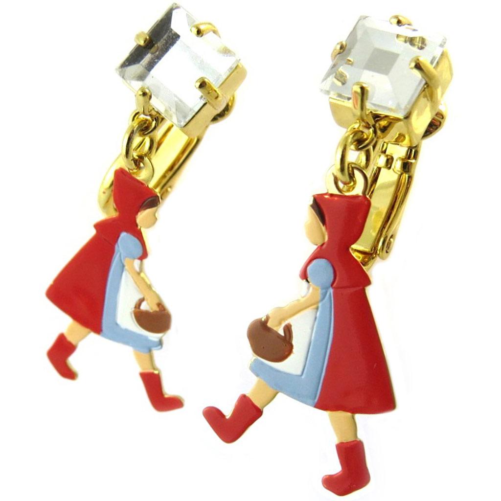 Boucles d\'oreilles clips artisanales \'Monde Merveilleux\' (Chaperon rouge) multicolore doré - 35x15 mm - [P2020]