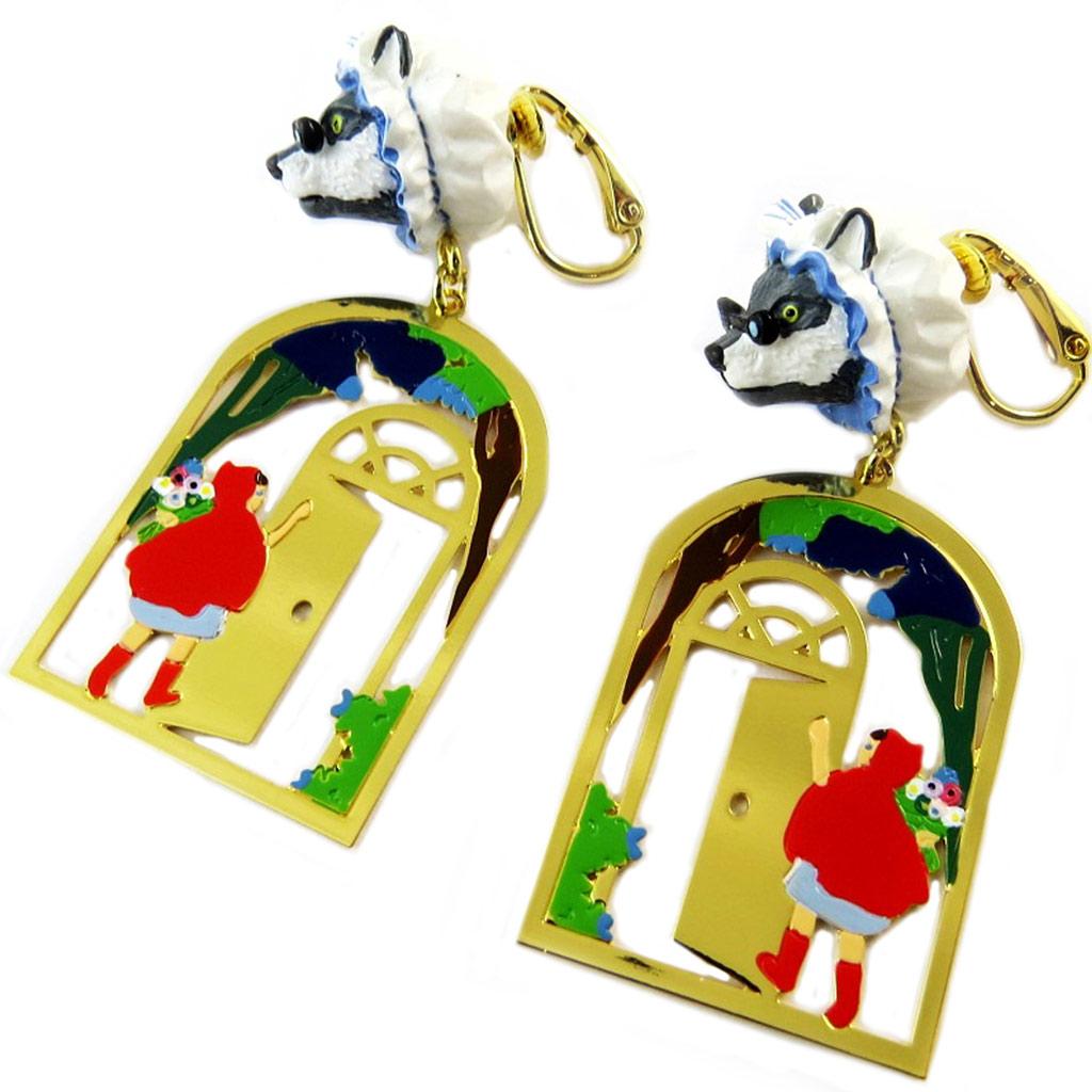 Boucles d\'oreilles clips artisanales \'Monde Merveilleux\' (Chaperon rouge) multicolore doré - 47x20 mm - [P2022]