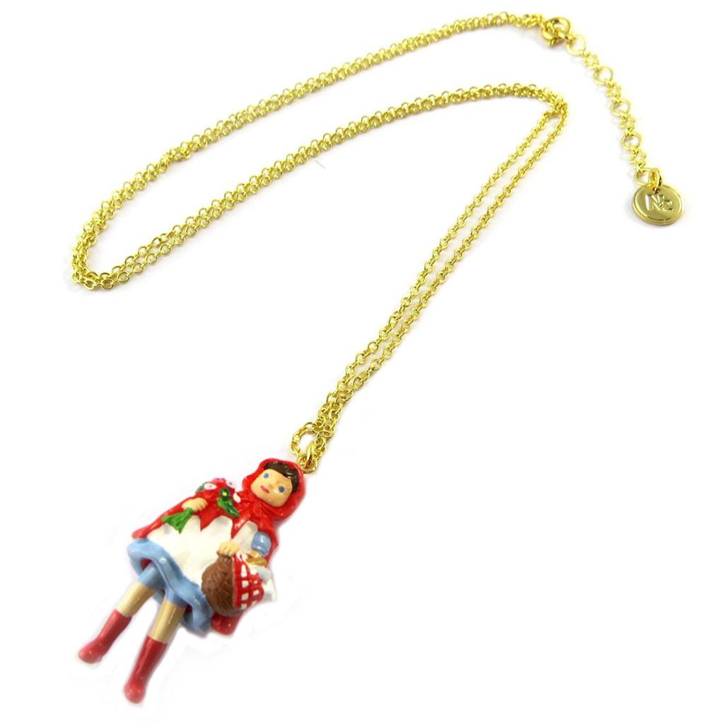 Collier / sautoir artisanal \'Monde Merveilleux\' (Chaperon Rouge) rouge doré - [P2024]
