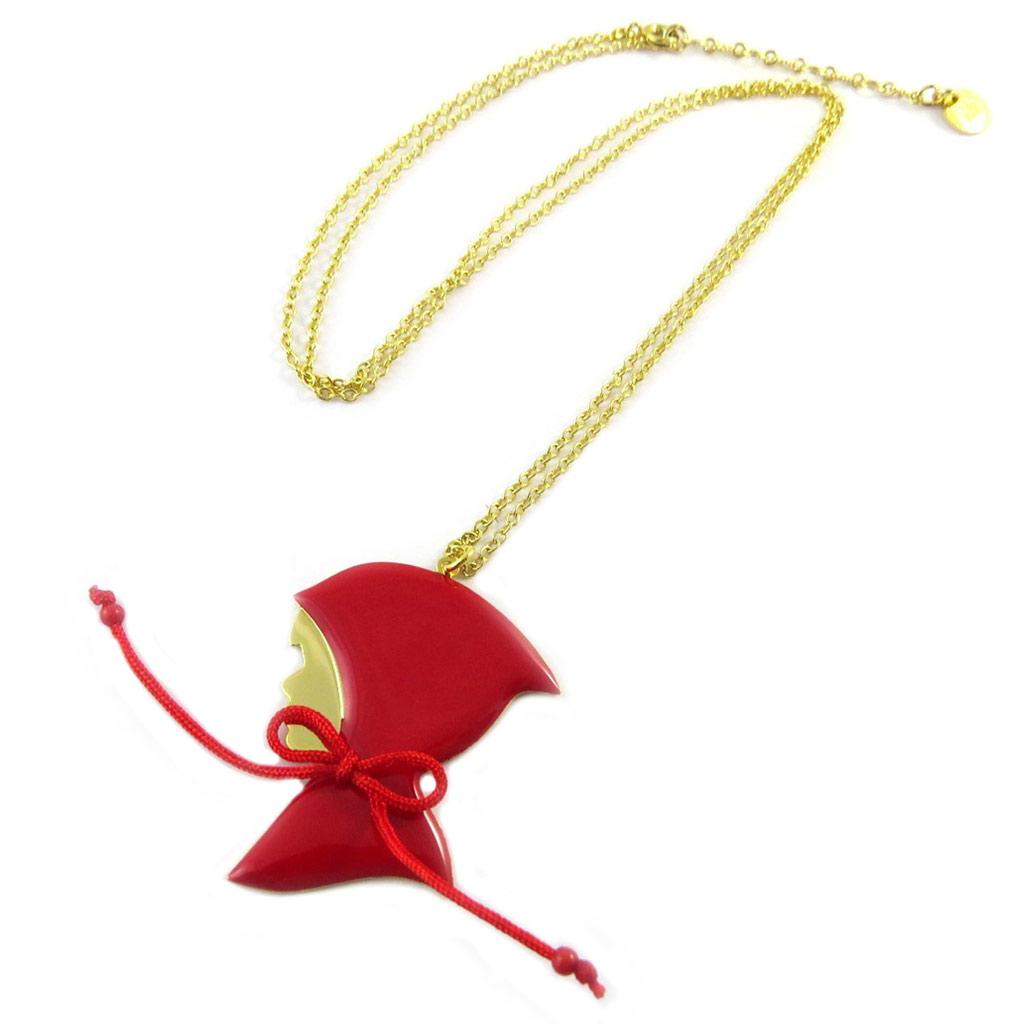 Collier / sautoir artisanal \'Monde Merveilleux\' (Chaperon Rouge) rouge doré - [P2025]