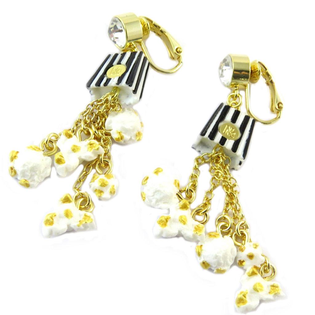 Boucles d\'oreilles clips artisanales \'Monde Merveilleux\' (Pop Corn) beige doré - 70x15 mm - [P2028]