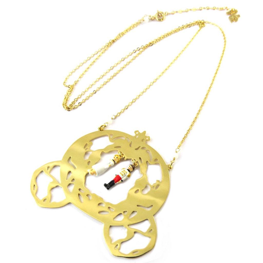 Collier / sautoir artisanal \'Monde Merveilleux\' (Il était une fois) multicolore doré - [P2030]