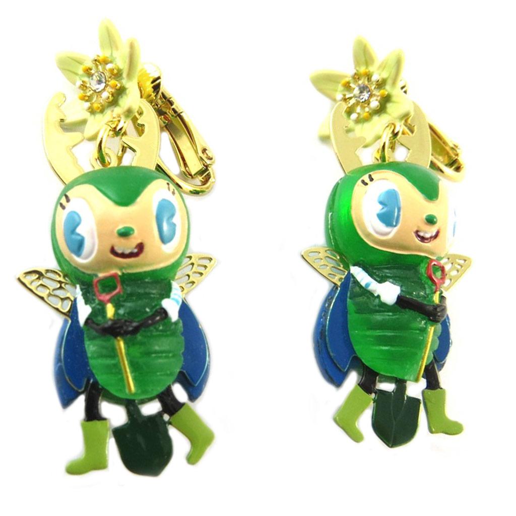 Boucles d\'oreilles clips artisanales \'Monde Merveilleux\' (Potager du Bonheur) vert doré - 45x20 mm - [P2041]