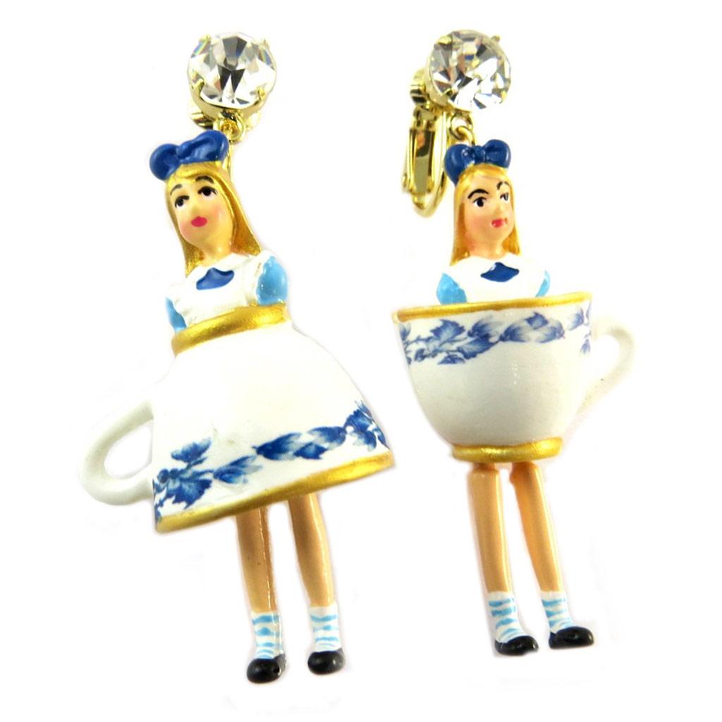 Boucles d\'oreilles clips artisanales \'Monde Merveilleux\' (Alice) bleu blanc doré - 60x25 mm - [P2042]