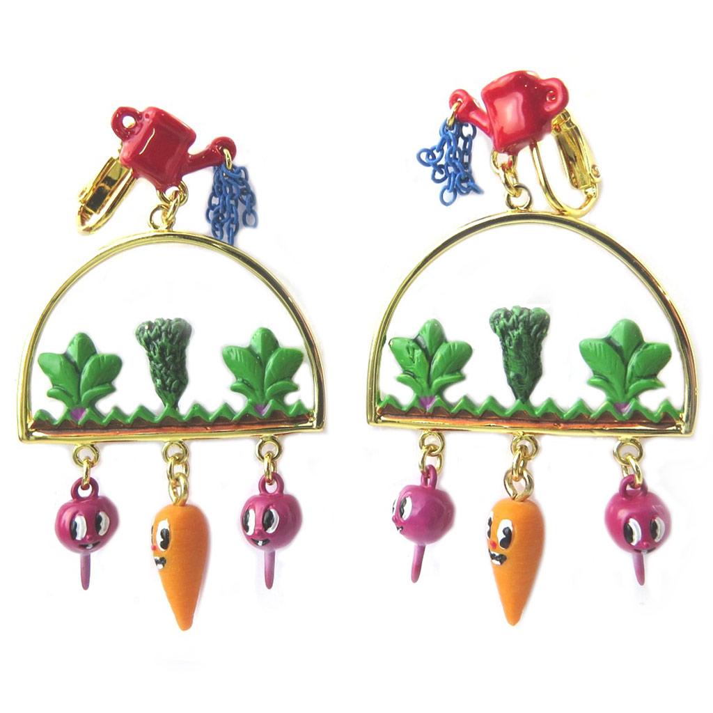 Boucles d\'oreilles clips artisanales \'Monde Merveilleux\' (Potager du Bonheur) multicolore doré - 60x35 mm - [P2043]